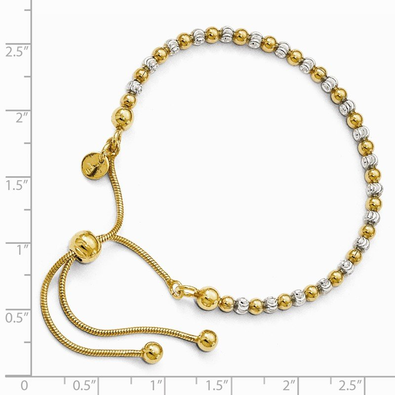 Leslie's Leslie's Sterling Silver Gold-plated D/C Adjustable Bracelet