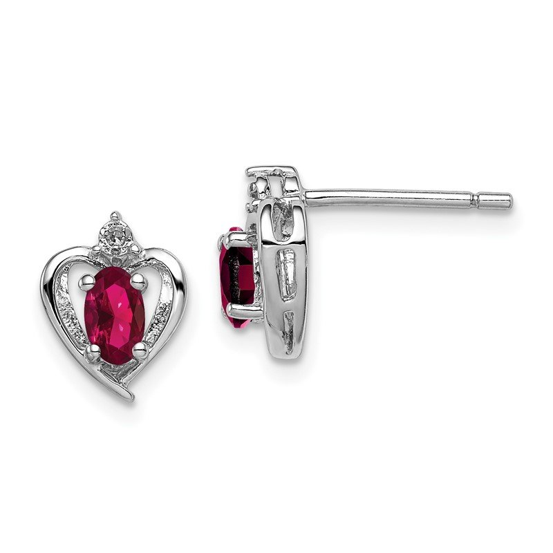 Quality Gold Sterling Silver Rhodium-plated Created Ruby & Diam. Earrings