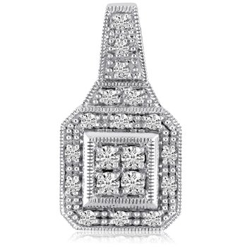 14K White Gold Square .50 Ct Diamond Fashion Antique Pendant