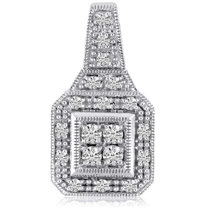 Color Merchants 14K White Gold Square .50 Ct Diamond Fashion Antique Pendant