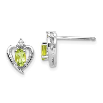 14k White Gold Peridot and Diamond Heart Post Earrings