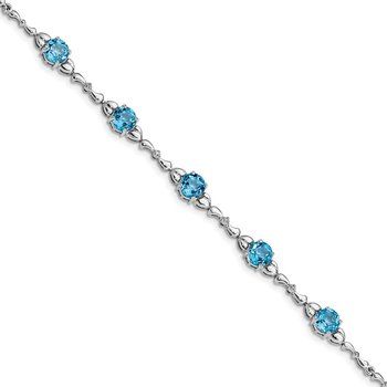 Sterling Silver Rhodium-plated Lt. Swiss Blue Topaz & Diamond Bracelet