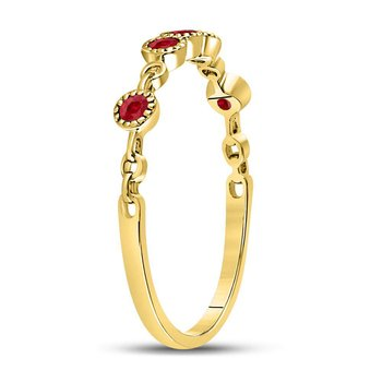 10kt Yellow Gold Womens Round Ruby Dot Stackable Band Ring 1/5 Cttw