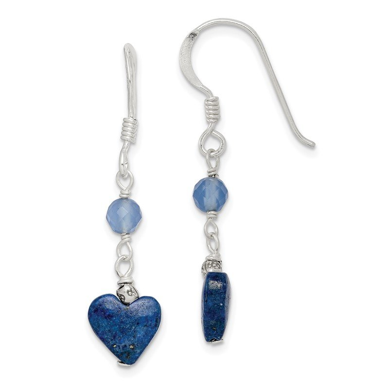 Quality Gold Sterling Silver Lapis and Blue Agate Antiqued Earrings