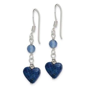 Sterling Silver Lapis and Blue Agate Antiqued Earrings
