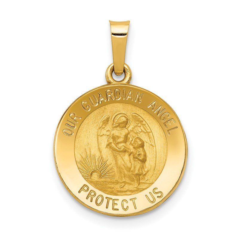 Quality Gold 14k Polished and Satin Our Guardian Angel Medal Hollow Pendant