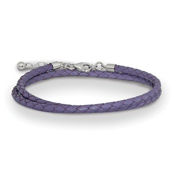 SS Reflections Purple Leather 14in w/2in ext Choker/Wrap Bracelet