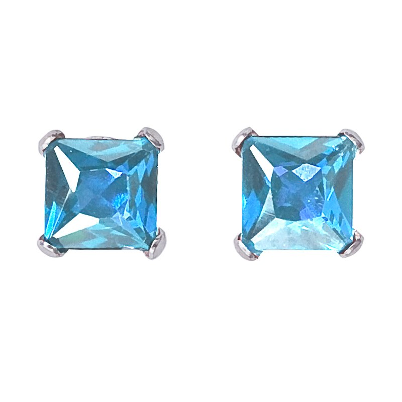 Color Merchants 14k White Gold Square Blue Topaz Stud Earrings