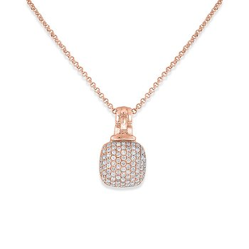 Diamond Cushion Necklace in 14k Rose Gold with 84 Diamonds weighing .34ct tw.