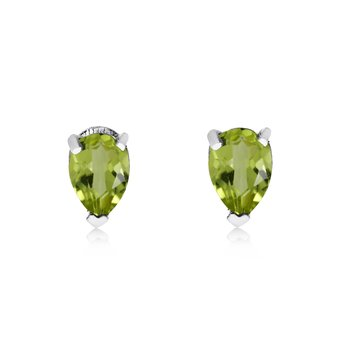 14k White Gold Peridot Pear-Shaped Earring