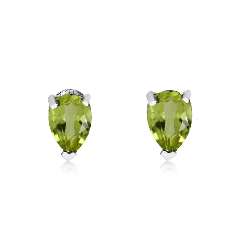 Color Merchants 14k White Gold Peridot Pear-Shaped Earring