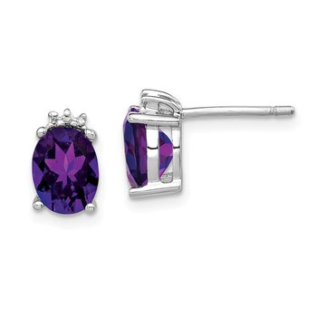 Sterling Silver Rhodium Oval Amethyst & Diamond Post Earrings