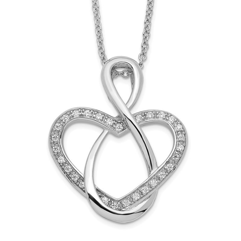 Quality Gold Sterling Silver & CZ Lifetime Friend 18in Necklace
