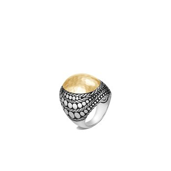 Dot Dome Ring in Silver and Hammered 18K Gold