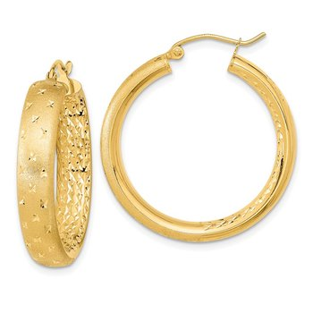 14k Polished, Satin & D/C In/Out Hoop Earrings