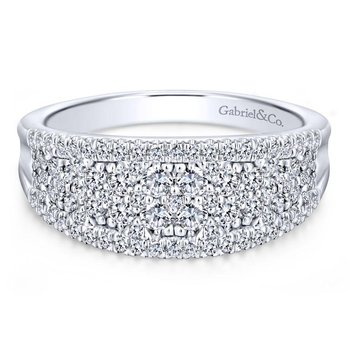 14K White Gold Curved Pavé Diamond Ring