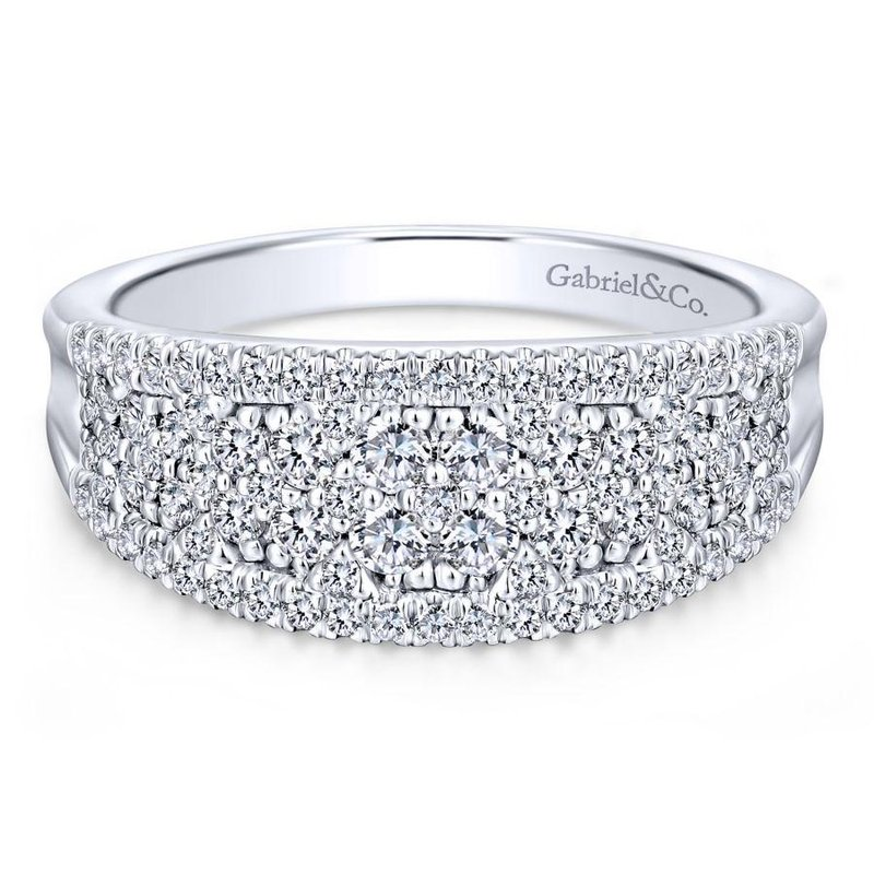 Gabriel Fashion 14K White Gold Curved Pavé Diamond Ring
