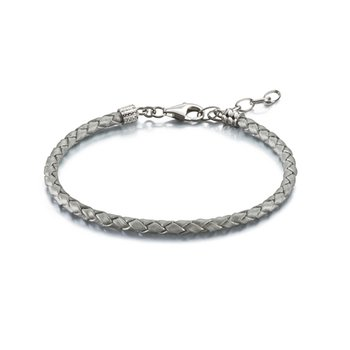 Silver Metallic Braided Leather Bracelet