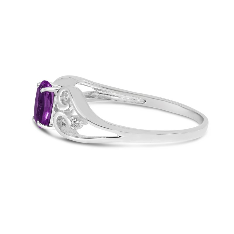 Color Merchants 14k White Gold Oval Amethyst And Diamond Ring