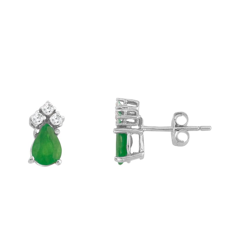 Color Merchants 14k White Gold Emerald And Diamond Pear Shaped Earrings