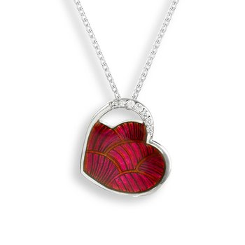 Red Heart Necklace.Sterling Silver-White Sapphire