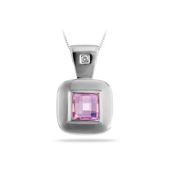 14K WG Diamond & Synthetic Pendant