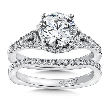 Diamond Engagement Ring Mounting in 14K White Gold with Platinum Head (.45 ct. tw.)