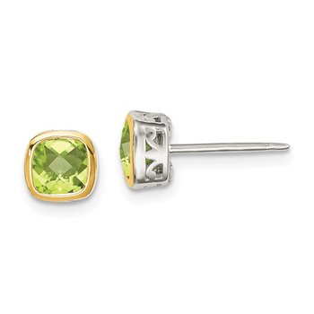 Sterling Silver w/ 14K Accent Peridot Square Stud Earrings