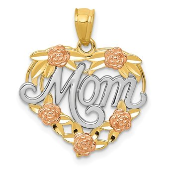 14k Two-tone w/White Rhodium MOM Heart Pendant
