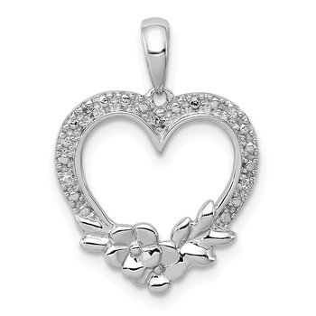 Sterling Silver Rhodium Plated Diamond Heart Pendant25