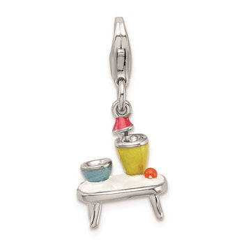 Sterling Silver RH Enameled Table and Bowls w/Lobster Clasp Charm