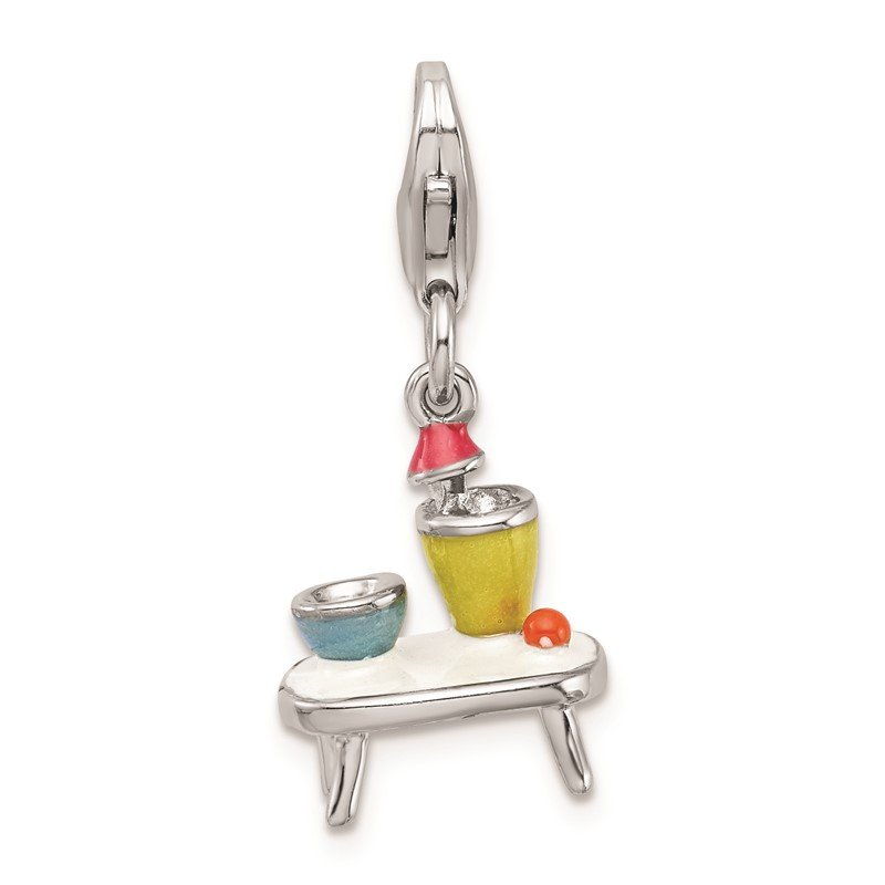 Quality Gold Sterling Silver RH w/Lobster Clasp Enameled Table and Bowls Charm