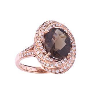 14k Rose Gold Smokey Topaz and Diamond Ring