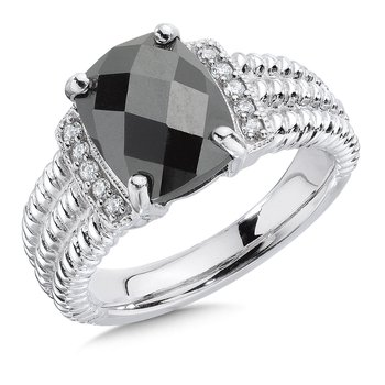Sterling silver, diamond and hematite ring
