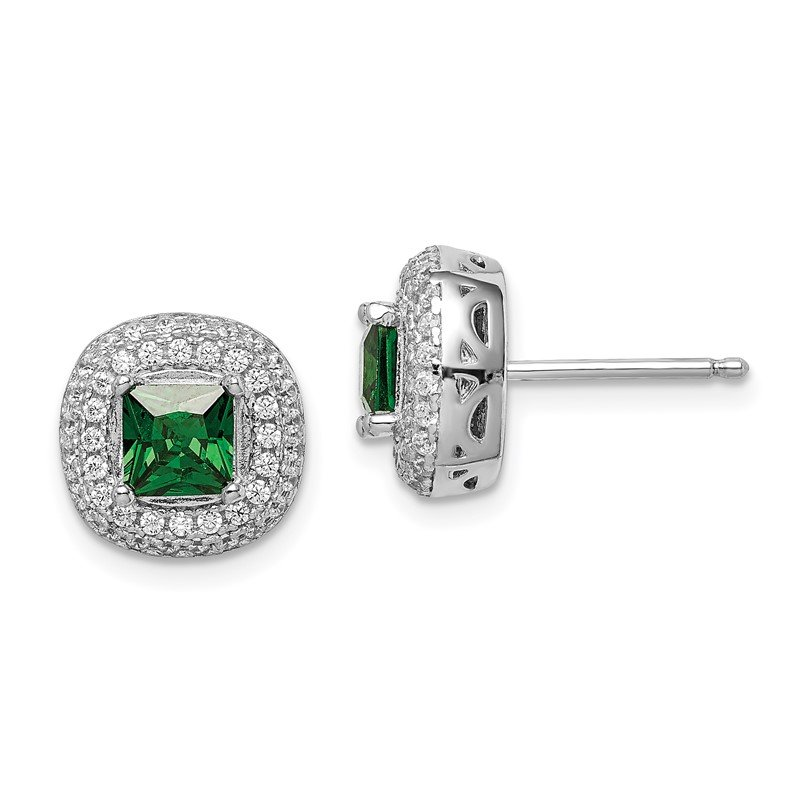 Quality Gold Sterling Silver Rhodium-plated White/Green CZ Post Earrings