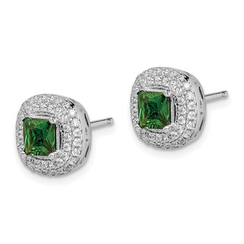 Sterling Silver Rhodium-plated White/Green CZ Post Earrings