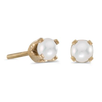 3 mm Petite Freshwater Cultured Pearl Screw-back Stud Earrings in 14k Yellow Gold