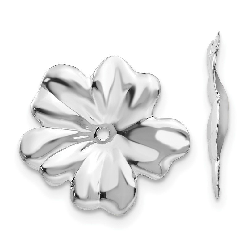Quality Gold 14k White Gold Floral Earring Jackets