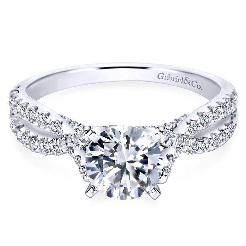Gabriel Bridal 14K White Gold Round Twisted Diamond Engagement Ring