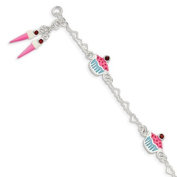 Sterling Silver & Garnet Enameled Cupcake & Ice Cream Childs Bracelet