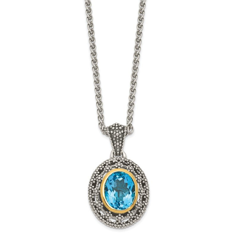 Quality Gold Sterling Silver w/ 14K Accent Light Swiss Blue Topaz Oval Necklace