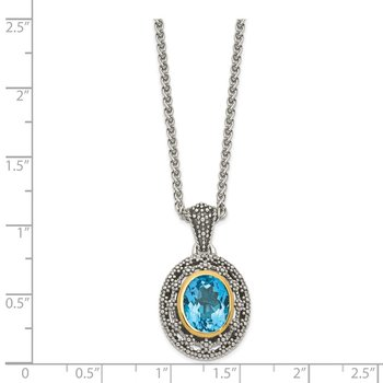 Sterling Silver w/ 14K Accent Light Swiss Blue Topaz Oval Necklace