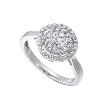 Diamond Halo Cluster Engagement Ring in 14k White Gold (½ ctw)