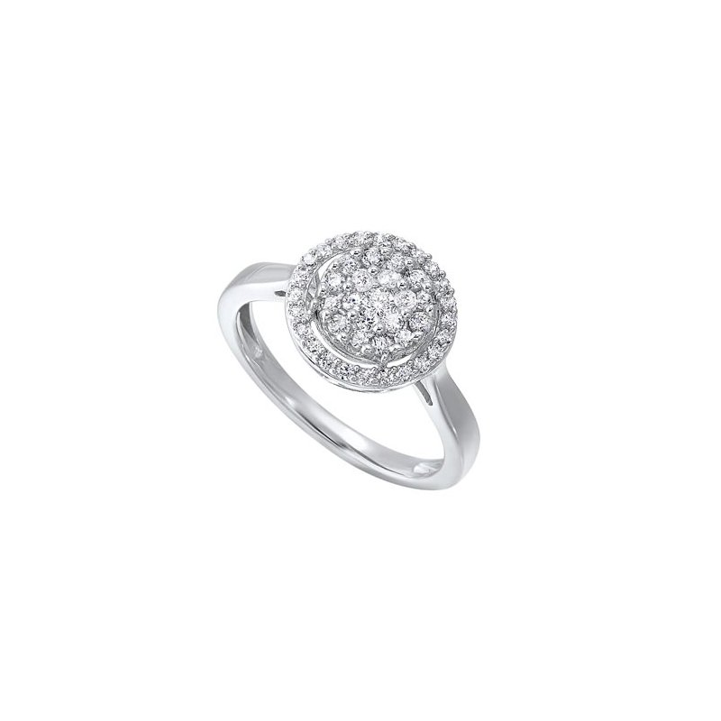 Calvin Broyles  Diamond Halo Cluster Engagement Ring in 14k White Gold (½ ctw)
