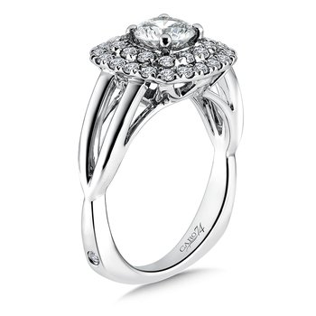 Double Cushion Halo Engagement Ring With Split Shank in 14K White Gold (3/4ct. tw.)