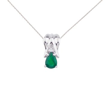 14k White Gold Emerald Pear Pendant with Diamonds