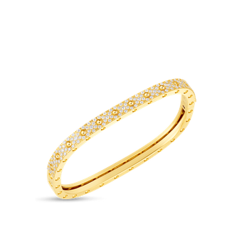 1 Row Square Bangle With Diamonds &Ndash; 18K Yellow Gold, S