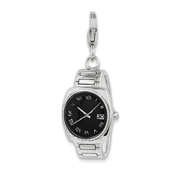 Sterling Silver Rhodium-plated w/Lobster Clasp Enamel Wristwatch Charm