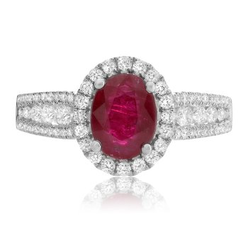 Oval Cut Ruby & Diamond Ring