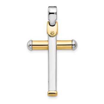 Leslie's 14K Two-tone Polished Cross Pendant